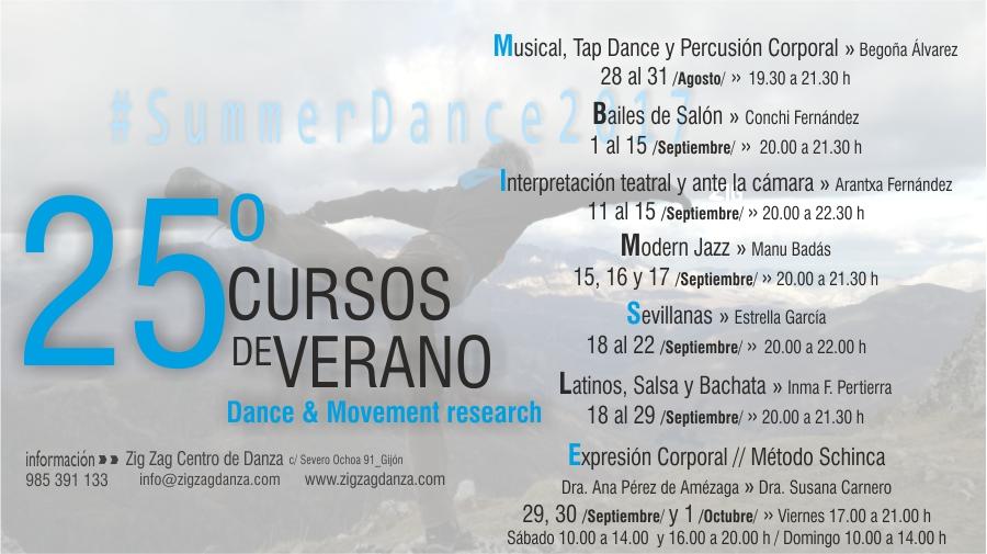 Cursos de Verano 2017 Actividades. Summerdance 2017. Zig Zag Danza.