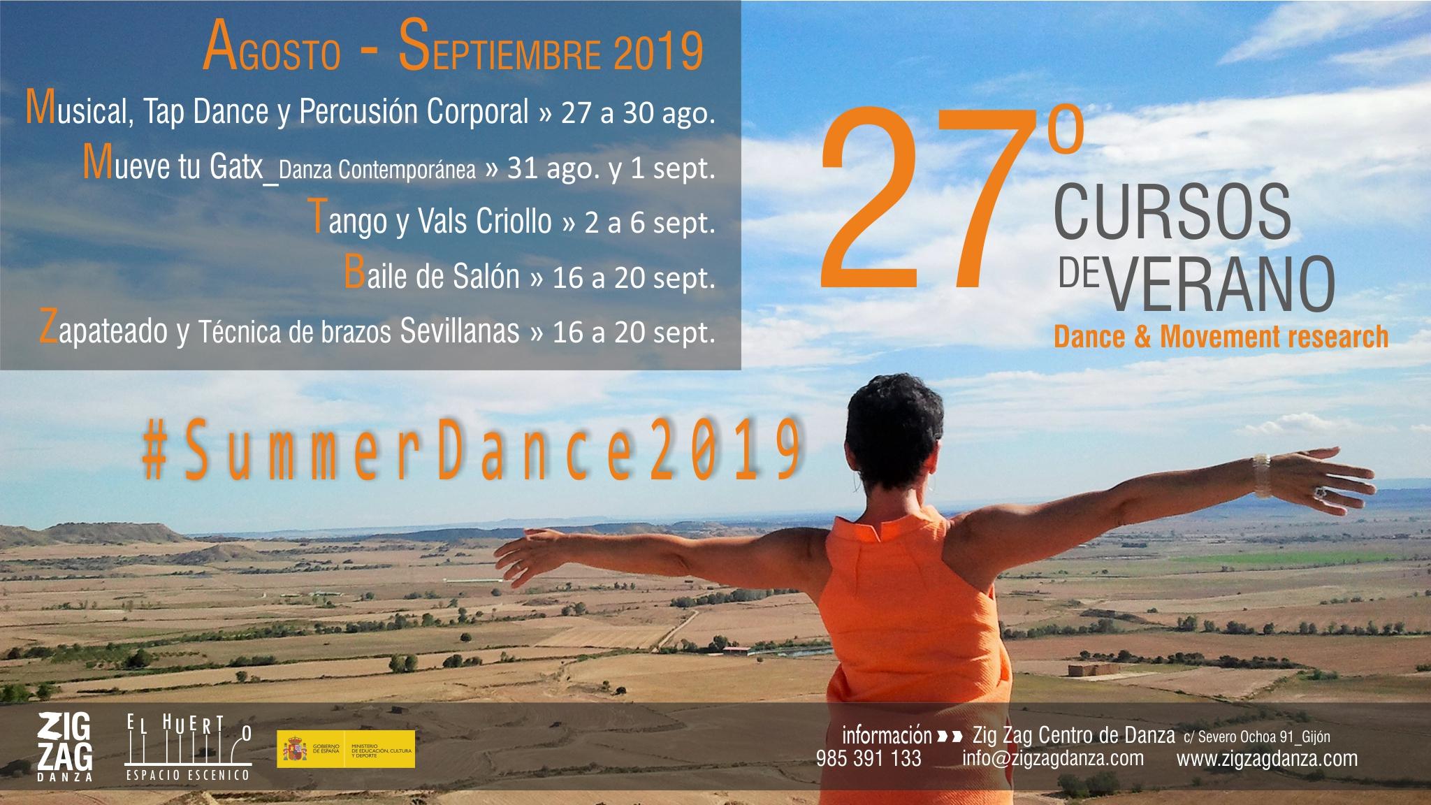 Programa cursos de Verano 2018. Summerdance 2018. Zig Zag Danza.